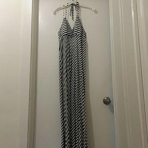 ELLE  gown black/white stripes halter Med.
